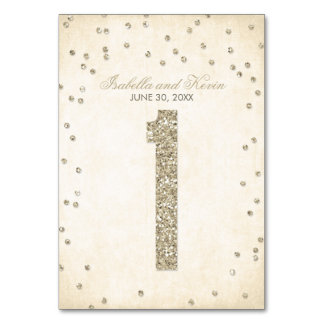 Glitter Look Confetti Wedding Table Numbers - 1 Table Card