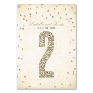 Glitter Look Confetti Wedding Table Numbers - 2 Table Cards