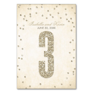 Glitter Look Confetti Wedding Table Numbers - 3 Table Cards