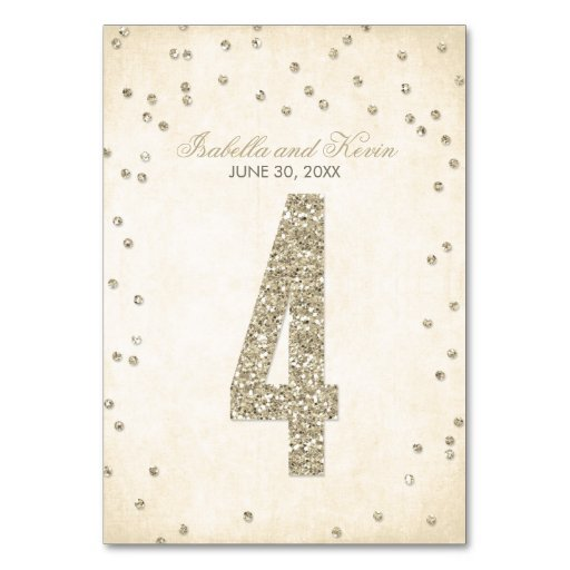 Glitter Look Confetti Wedding Table Numbers - 4 Table Cards