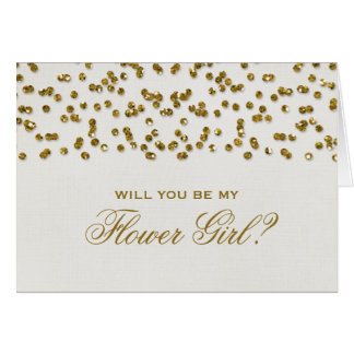 Glitter Look Confetti Will You Be My Flower Girl? Stationery Note Card