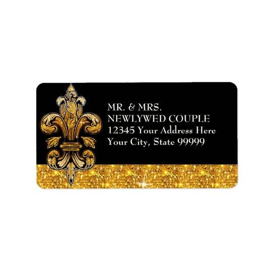 Glitter Look Faux Gold Black Formal Fleur de Lis Label