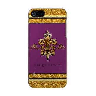 Glitter Look Faux Gold Black French Fleur de Lis Incipio Feather® Shine iPhone 5 Case
