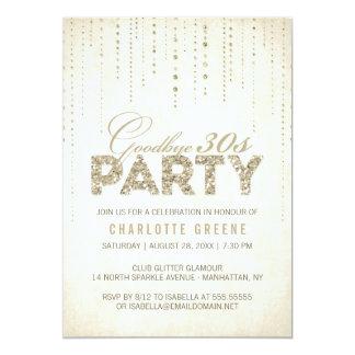 Glitter Look Goodbye 30s Birthday Invitation