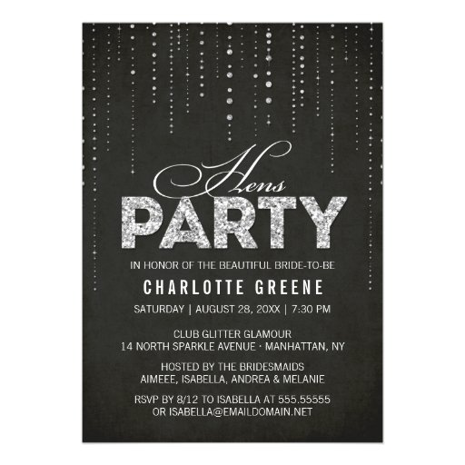 Glitter Look Hens Party Invitation