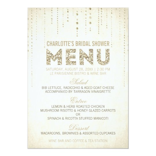 Glitter Look Menu Card