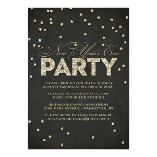 Glitter Look New Year's Eve Party Invitation