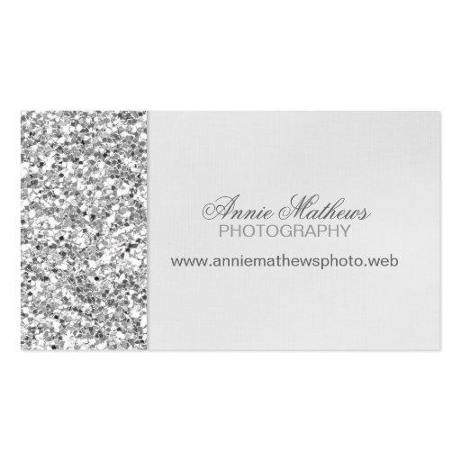 Glitter Look Silver Business Card