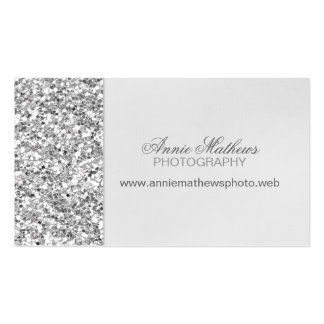 Glitter Look Silver Business Card