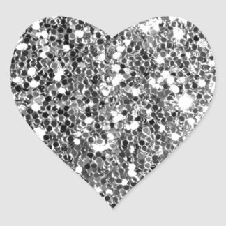 Glitter Look Solid Silver Sparkle Heart Sticker