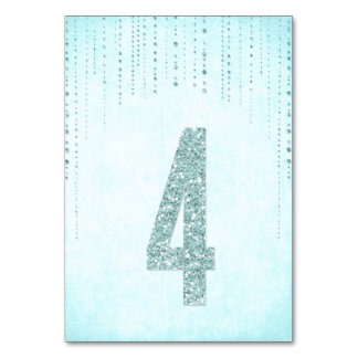 Glitter Look Wedding Table Numbers - 4 Table Card