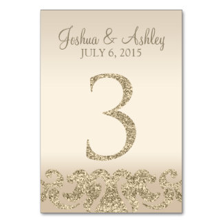 Glitter Look Wedding Table Numbers-Table Card 3 Table Card