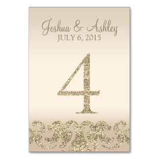 Glitter Look Wedding Table Numbers-Table Card 4 Table Cards