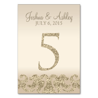 Glitter Look Wedding Table Numbers-Table Card 5 Table Cards