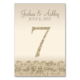 Glitter Look Wedding Table Numbers-Table Card 7 Table Card