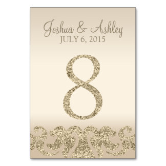 Glitter Look Wedding Table Numbers-Table Card 8 Table Cards