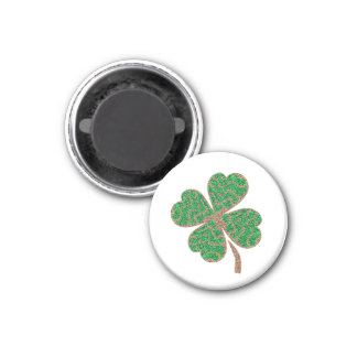 Glitter Lucky Green Leaf - Happy Day monogram Magnet