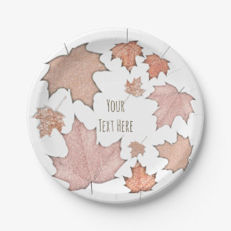 Glitter Maple Fall Leaves Golden Autumn Party 7 Inch Paper Plate