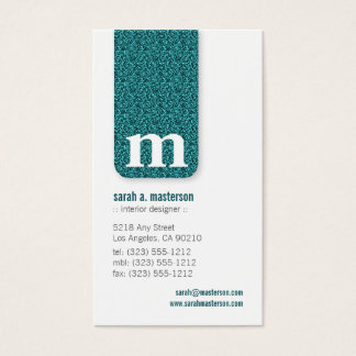 Glitter Monogram Designer Business Card (peacock)