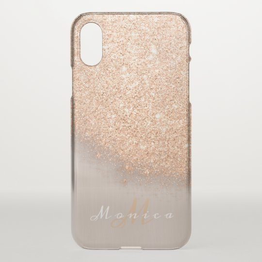 Glitter Monogram Name Ivory Gold Peach Copper iPhone