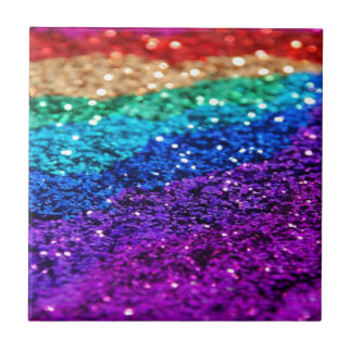 Glitter Multi Colored Sparkle Purple yellow green Small Square Tile