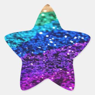 Glitter Multi Colored Sparkle Purple yellow green Star Sticker
