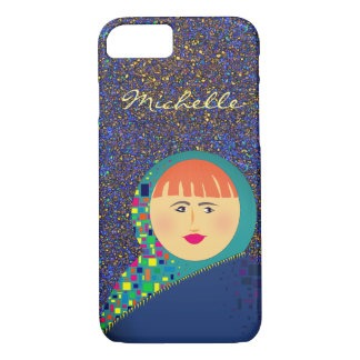 Glitter Night Colorful Bold Girl Cartoon Michelle iPhone 8/7 Case