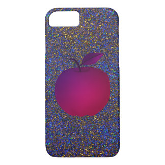 Glitter Night Purple Apple Fruit Glamour Girly iPhone 7 Case