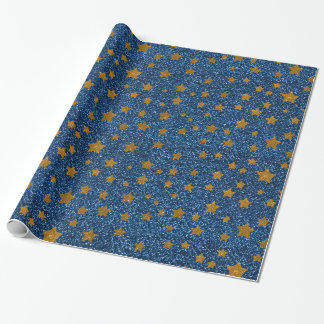 Glitter night sky wrapping paper