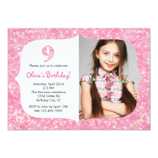 "Glitter Nineth Birthday Invitation 5"" X 7"" Invitation Card"