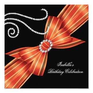 Glitter Orange Diamond Bow Black Birthday Party 5.25x5.25 Square Paper Invitation Card