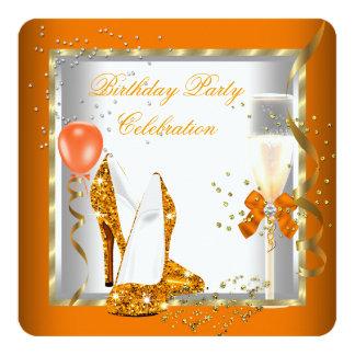 Glitter Orange Gold High Heels Birthday Party Card