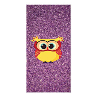 Glitter Owl Customised Photo Card