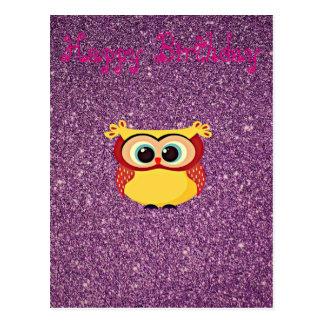 Glitter Owl Postcard