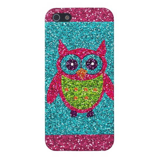 Glitter Owl Teal Pink Green Bling iPhone 5