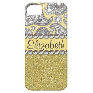 Glitter Paisley Rhinestone Print Pattern iPhone 5 Case