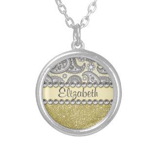 Glitter Paisley Rhinestone Print Pattern Silver Plated Necklace