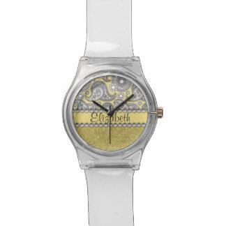 Glitter Paisley Rhinestone Print Pattern Wrist Watches