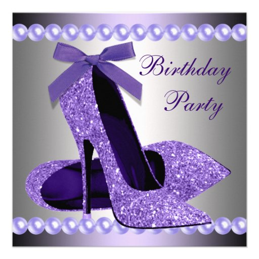 Glitter Pearls Purple High Heels Shoes Birthday Custom Invitation