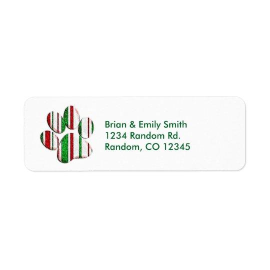 Glitter pet paw print customisable address labels