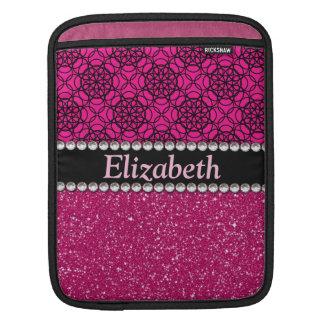 Glitter Pink and Black Pattern Rhinestones iPad Sleeve