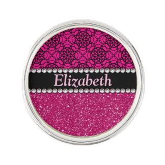 Glitter Pink and Black Pattern Rhinestones Lapel Pin