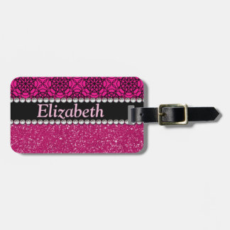 Glitter Pink and Black Pattern Rhinestones Luggage Tag