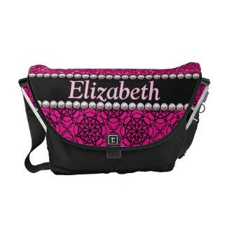 Glitter Pink and Black Pattern Rhinestones Messenger Bag