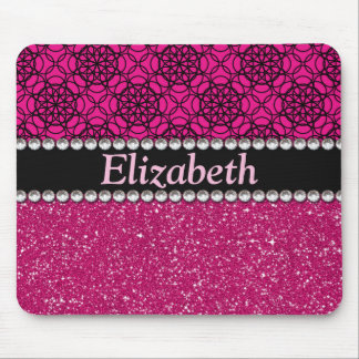 Glitter Pink and Black Pattern Rhinestones Mouse Mat