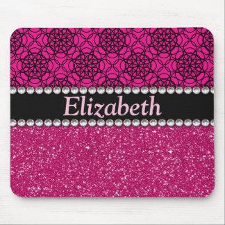 Glitter Pink and Black Pattern Rhinestones Mouse Mat