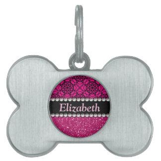 Glitter Pink and Black Pattern Rhinestones Pet Tag