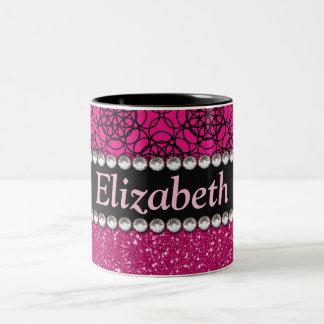 Glitter Pink and Black Pattern Rhinestones Two-Tone Mug