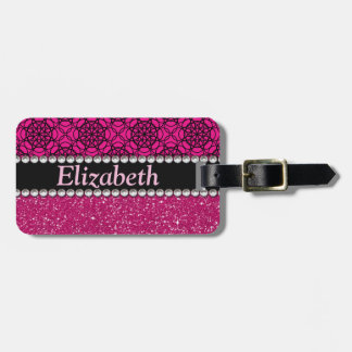 Glitter Pink and Black Rhinestones Phone Number Luggage Tag
