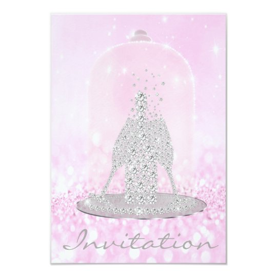 Glitter Pink Diamond Glass Bubbles Champagne Gray Card